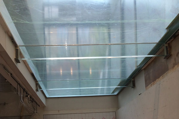 Glass flooring from below