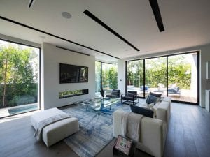 Interior living room with glass doors